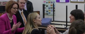 Heather Lawson with Prime Minister Julia Guillard